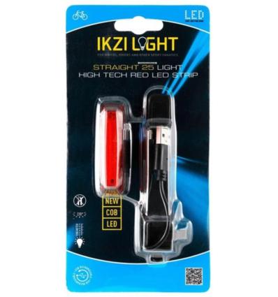 IKZI achterlicht Straight25, Hi-Tech COB-LED USB recharge, rood
